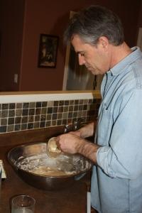 Ron mixing oliebollen batter